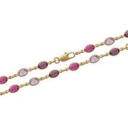 Collier cristal De Swarovski couleur Violet Plaqué Or 18 Carats Bijoux Femme