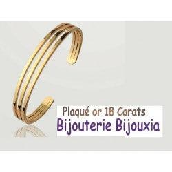 Bracelet Jonc Rigide Plaqué Or 18 Carats 750/1000 Garanti 10 ans Bijoux Femme