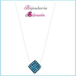 Collier Fil De Nylon Losange Pierres Couleur Bleu Argent Massif 925/000  Bijoux