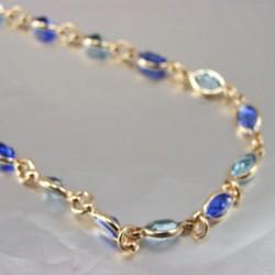 Collier cristal De Swarovski couleur Bleu Plaqué Or 18 Carats Bijoux Femme