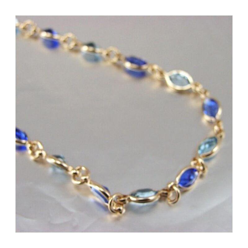 design intemporel 15a8e 6d395 Collier cristal De Swarovski couleur Bleu Plaqué Or 18 Carats Bijoux Femme