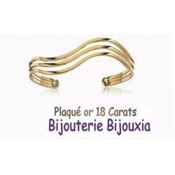 Bracelet Jonc Manchette Plaqué Or 18 Carats 750/1000 Garanti 10 ans Bijoux Femme