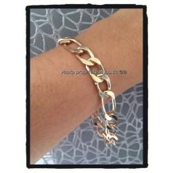 Bracelet Large Figaro 9MM x 23CM Plaqué or 18 Carats garanti 10 ans Bijoux Homme