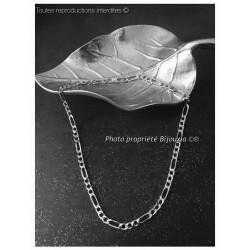 Chaîne Maille Figaro Longue 70 cm Argent Massif 925/1000 Bijoux Homme NEUVE
