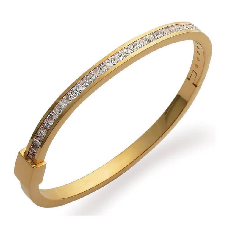 Bracelet Jonc ZIRCONIUM Plaqué Or 18 Carats 750/1000 Garanti 10 ans Bijoux Femme