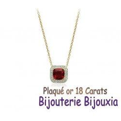 Collier Rubis CZ ZIRCONIUM Plaqué Or 18 Carats Garanti 10 Ans Bijoux Femme