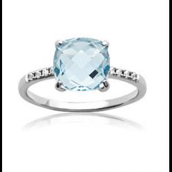 Bague Cristal Solitaire Pierre Bleu Topaze Argent Massif 925/1000 Bijoux Femme