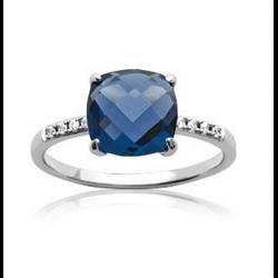 Bague Cristal Solitaire Pierre Bleu Saphir Argent Massif 925/1000 Bijoux Femme