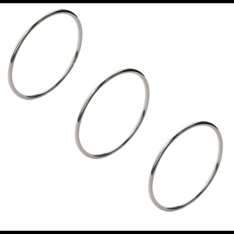 Bracelets Lot Triple Joncs Argent Massif 925//1000 5,8cm Bijoux Fille//Adolescente