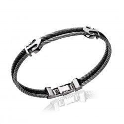Bracelet CUIR Noir et Acier...