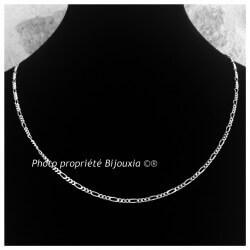 Chaîne Maille Figaro  55 cm Argent Massif 925/1000 Bijoux NEUF étiqueté
