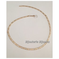 Chaîne Maille Figaro Diamantée 1-1 Plaqué Or 18 carats Garanti  NEUF  Bijoux