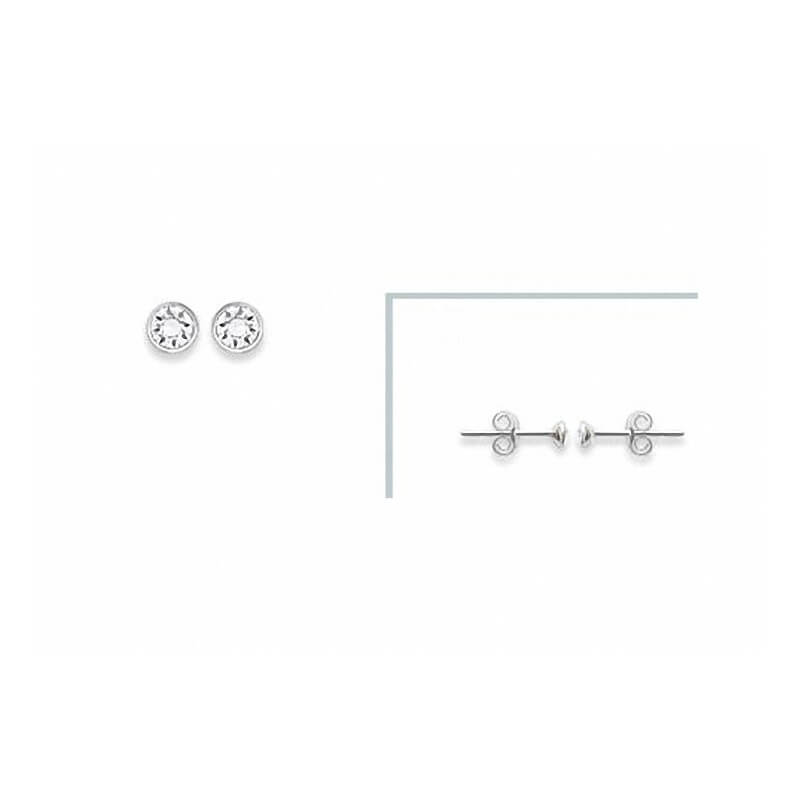 Boucles D/'oreilles 5 mm Cristal Zirconium Rond Argent Massif 925//1000 Rhodié