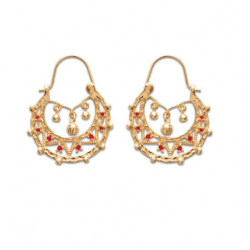 Boucles Doreilles Cr/éoles Savoyardes Plaqu/é Or 18 carats Bijoux Femme