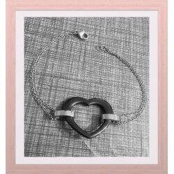 Bracelet Cœur Acier Et...