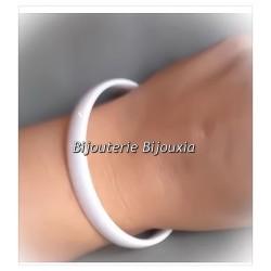 Bracelet Jonc Lisse - En Céramique Blanche - Bijoux Femme