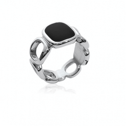 Bague Taille 56 Email NOIR...