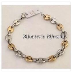 Bracelet Homme Maille Grain De Café 22cm Bicolore-Acier Inoxydable 316L Bijoux