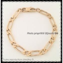 Bracelet Maille Figaro 6MM x 21CM Plaqué or 18Carats Garanti 10 ans Bijoux Homme