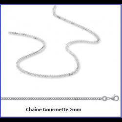 Chaîne Gourmette 2MM Argent Massif 925/1000 Longueurs 40/45/50/55/60/70/80/95CM