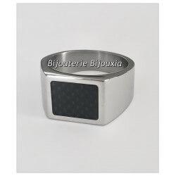 Bague Chevalière Homme - Acier Inox et carbone Bijoux NEUF Taille  64 DISPO