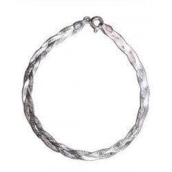 Bracelet Maille Tressée  Double Fil  Argent Massif 925/000 Rhodié Bijoux Femme