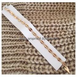 Bracelet Maille Grain de Café 20cm X 6,5 mm Plaqué Or 18 carats Bijoux Mixte