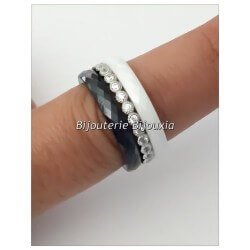 Bague Céramique NOIR&BLANC - Zirconium-Argent Massif 925 - T50-52-54-56-58-60
