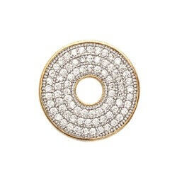 COLLIER Pendentif Cercle DONUTS ZIRCONIUM MICROSERTI Plaqué Or 18 carats  Bijoux